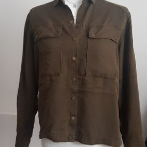 Topshop Button Down Snap Long Sleeve Olive Green